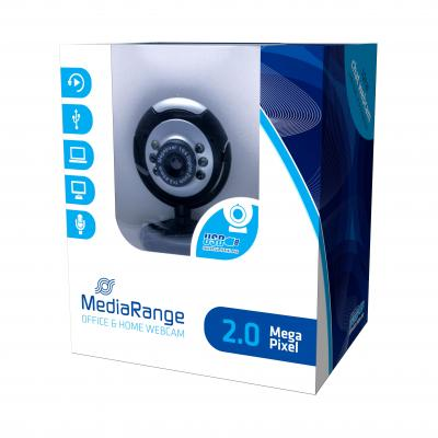 Mediarange webcam: 2 MP, 1280 x 1024, USB 2.0, Black/Grey - Zwart, Grijs