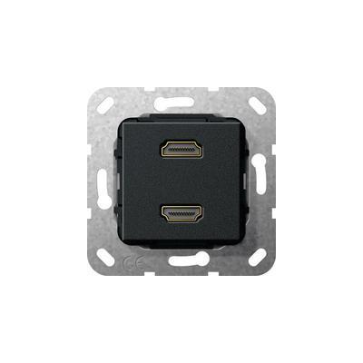 """GIRA Basiselement HDMI """"High Speed with Ethernet"""" tweevoudig Verloopkabel, zwart mat Wandcontactdoos"""