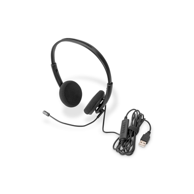 Digitus Stereo Office, On Ear, noise reduction cable 1,95 m, control unit, USB Headset - Zwart
