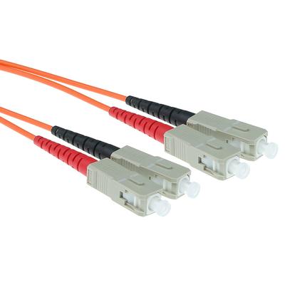 ACT 50m LSZHmultimode 62.5/125 OM1 glasvezel patchkabel duplexmet SC connectoren Fiber optic kabel - Oranje