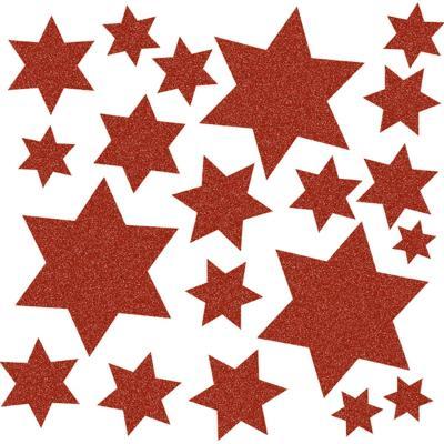 Herma sticker: Window decoration stars, red - Rood