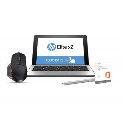 Hp laptop: Elite x2 1012 G1 Office Home & Business bundel + GRATIS Logitech muis - Zilver