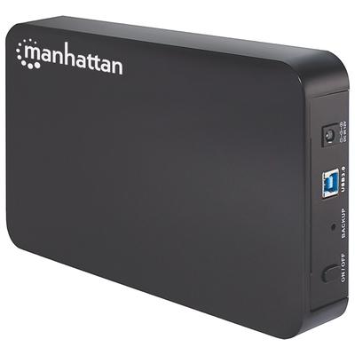 "Manhattan Drive Enclosure (Euro 2pin plug), USB 3.0, SATA, 3.5"", One-touch backup button, Black, Sturdy, ....."