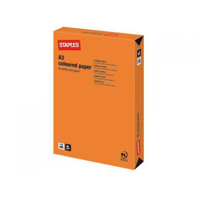Staples papier: Papier SPLS A3 80g oranje/pak 500v