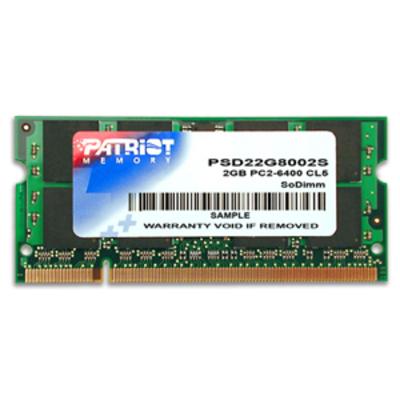 Patriot Memory DDR2 2GB CL5 PC2-6400 (800MHz) SODIMM RAM-geheugen