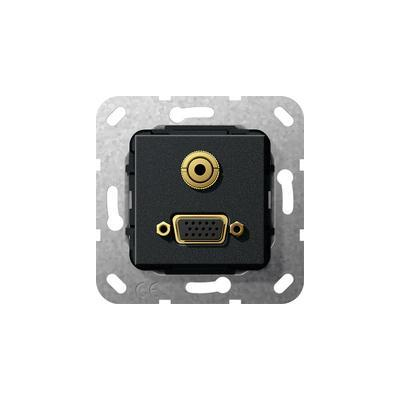 GIRA Basiselement VGA 15-polig en mini-jack 3.5 mm Koppeling VGA, verloopkabel mini-jack, zwart mat Wandcontactdoos