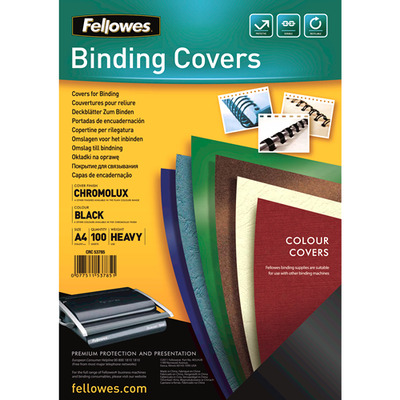 Fellowes binding cover: Chromolux dekbladen glans - zwart A4