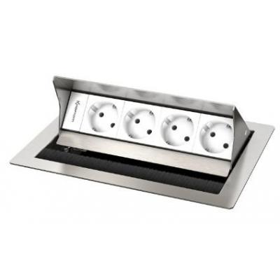 Kindermann 4-fold, 4 x mains Inbouweenheid - Roestvrijstaal, Wit