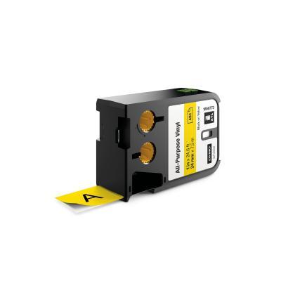 "Dymo labelprinter tape: XTL 1"" (24 mm) universeel vinyl, zwart op geel"