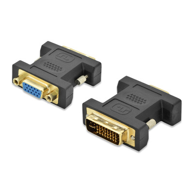 Ednet DVI-I - HD DSUB, 60 Hz, 1920 x 1200 Kabel adapter - Zwart