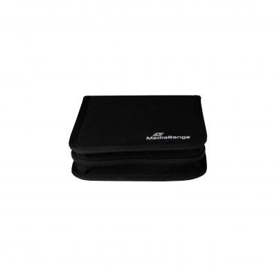 Mediarange : Media storage wallet for 24 discs, nylon, black - Zwart