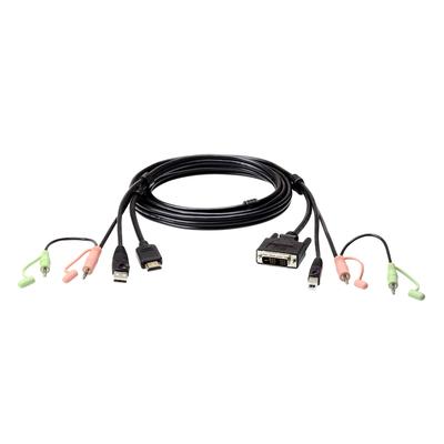 Aten 1.8M USB HDMI to DVI-D KVM Cable with Audio KVM kabel - Zwart