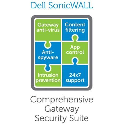 Dell software licentie: SonicWALL SonicWALL Comprehensive Gateway Security Suite for SonicWALL NSA 2400 - Subscription .....