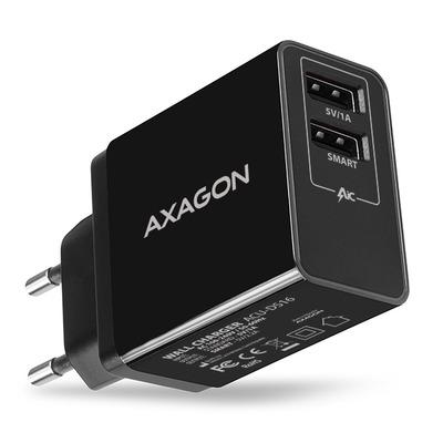 Axagon ACU-DS16 wall charger, 2x 5V-2.2A + 1A, 16W, black Oplader - Zwart