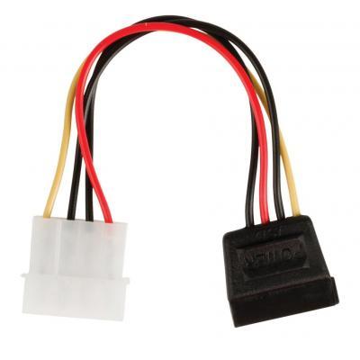 Valueline : Internal power adapter cable SATA 15-pin female - Molex male 0.15 m multicolour - Zwart, Rood, Wit, Geel