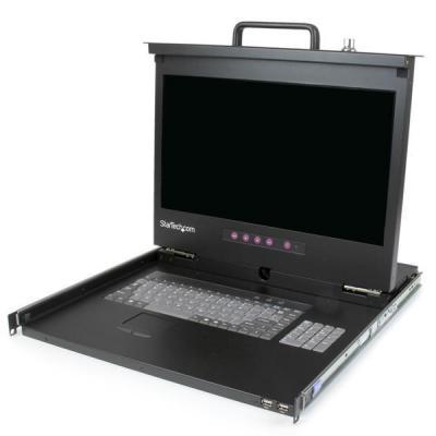 "Startech.com rack console: 1U Rackmount LCD console met 2 poorts USB Hub 17"" monitor 1080p - Zwart, QWERTY"