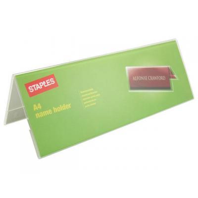 Staples naambadge: Tafelnaambord SPLS A4 gevouwen transp.