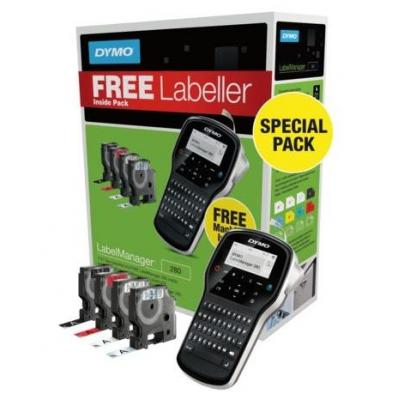 DYMO labelprinter: LabelManager 4 D1 Tapecassettes + LabelManager 280 - Zwart, QWERTY