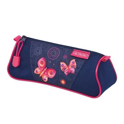 Herlitz potlood case: Butterfly Dreams - Blauw, Roze