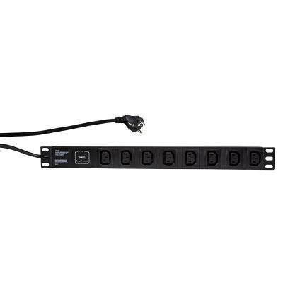 "LogiLink 48.26 cm (19"") PDU with 8 IEC320 sockets, with surge protector Energiedistributie - Zwart"