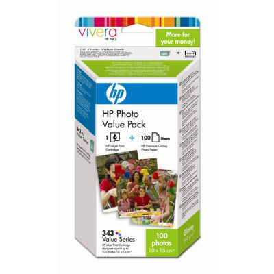 HP 343 Series Photo Value Pack with Vivera Inks-10 x 15 cm/100 sht fotopapier