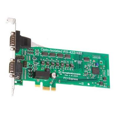 Brainboxes 2 x RS422/485, PCI Express, 921600 baud Max Interfaceadapter - Groen