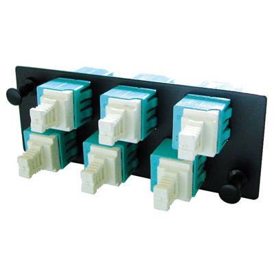 Molex LC Duplex 12 Fibre Adapter Plate, Multi-mode OM3, Aqua Fiber optic adapter - Zwart,Blauw