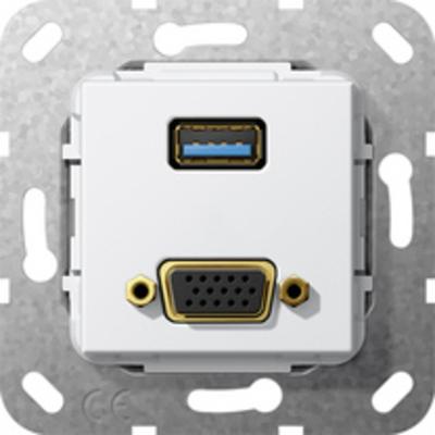 GIRA Basiselement VGA 15-polig en USB 3.0 Type A Verloopkabel Wandcontactdoos - Wit
