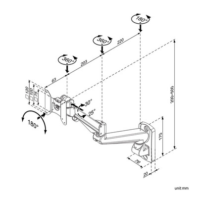 ROLINE LCD Monitorarm, Wandmontage, gas spring, pivot Montagehaak - Grijs