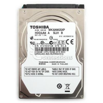 "Acer interne harde schijf: HDD TOSHIBA 2.5"" 5400rpm 320GB MK3259GSXP, Capricorn 3BS, 375G/P, 4K drive SATA 8MB LF+HF ....."