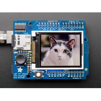"Adafruit : 1.8"" Color TFT Shield w/microSD & Joystick"