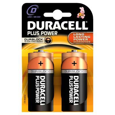 Duracell batterij: D Plus Power batterijen (2 stuks) - Zwart, Oranje