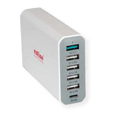 ROLINE USB Charger, 6 Ports (4x USB A, 1x USB C, 1x USB A QC3.0), max. 60W Oplader - Grijs