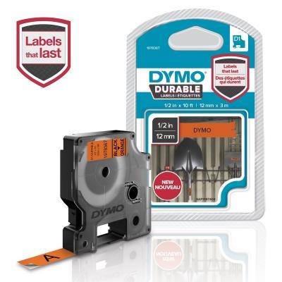 Dymo etiket: 12mm Black On Orange D1 Tape - Multi kleuren