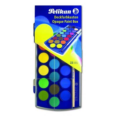 Pelikan verf: Dekverfdoos F455/T21 - 22 kleuren + penseel - Veelkleurig