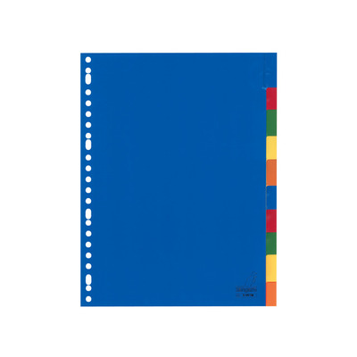Kangaro Tabblad A4 venster PP 120mµ assorti 23r 10dlg Indextab - Blauw