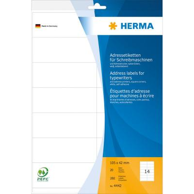 Herma adreslabel: Address labels for typewriters A4 105x42 mm paper matt square corners 280 pcs. - Wit