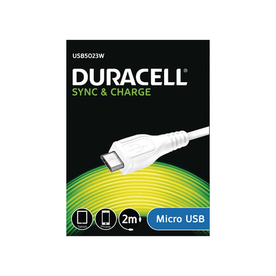 Duracell Sync/Charge Cable 2 Metre White Oplader - Wit
