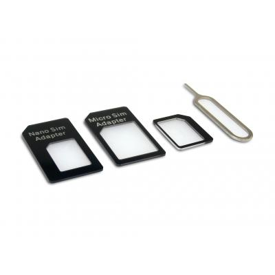 Sandberg SIM/flash memory card adapter: SIM Adapter Kit 4in1 - Zwart