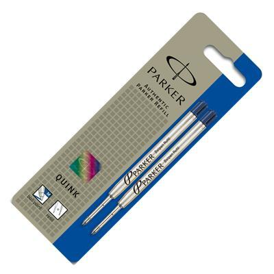 Parker pen-hervulling: Quink Ballpoint Refill Medium Blue, 2 Pack - Blauw, Zilver