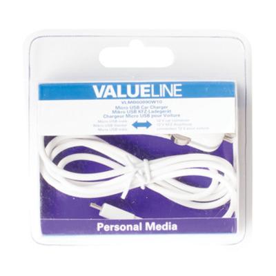Valueline Micro-USB-autolader Micro USB male - 12V-autoaansluiting 1,00 m wit Oplader