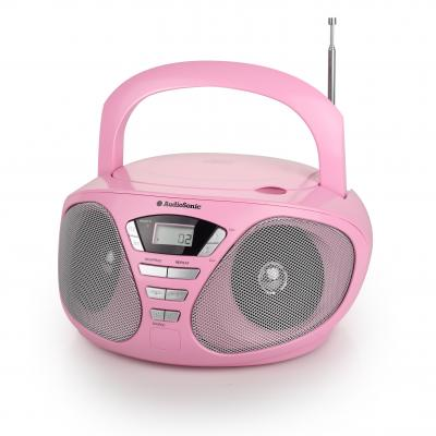 Audiosonic CD-radio: CD-1567, 2x 3W RMS, FM PLL, 30 stations, 3.5mm, Aux-in, AC, 230V, Batteries, 6x C, Pink - Roze