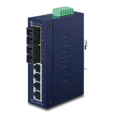 PLANET Industrial Ethernet, 4 x 10/100Base-TX RJ-45, 2 x 100Base-FX, Single-Mode, 15km Max, IP30 Switch - Blauw