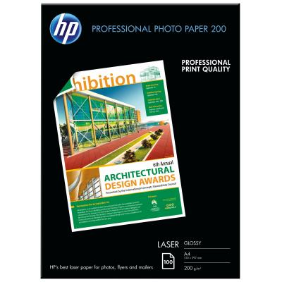 Hp papier: Professional Laser Photo Paper, glanzend, 200 gr/m2, 100 vel/A4/210 x 297 mm - Wit