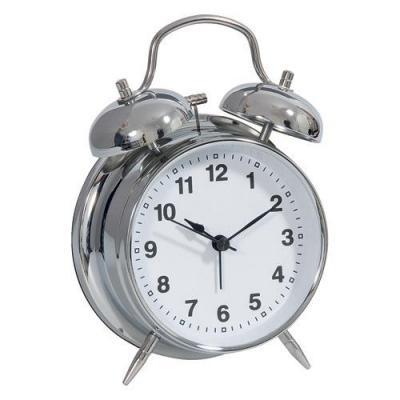 Technoline mantel/tafel klok: Geneva DGW - Double bell clock, 1 x Mignon AA LR06 - Zilver