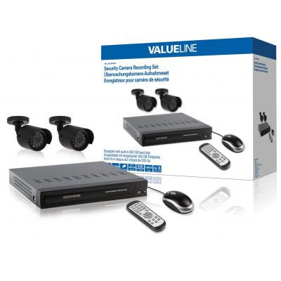 Valueline video toezicht kit: Security camera recording set equipped with built-in 500 GB hard disk, DVR, BNC + VGA + .....