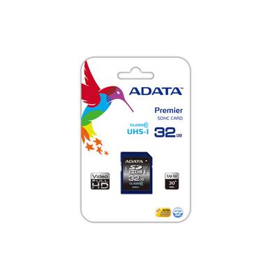 ADATA Premier SDHC UHS-I U1 Class10 32GB Flashgeheugen - Zwart, Blauw