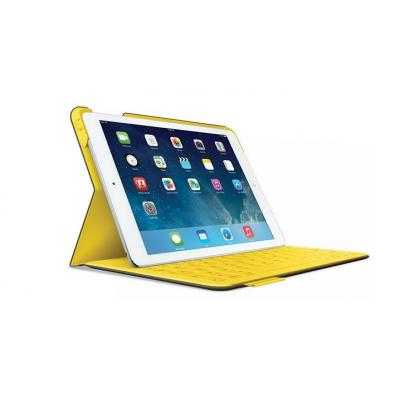 Logitech tablet case: FabricSkin Keyboard Folio for iPad Air grey/yellow - Grijs, Geel, QWERTY