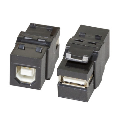 EFB Elektronik Keystone Snap-In Adapter USB2.0 A - B, black Kabel adapter - Zwart