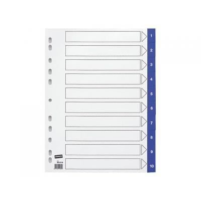 Staples schutkaart: Tabblad SPLS A4 11r 1-10 pp blauw/set10